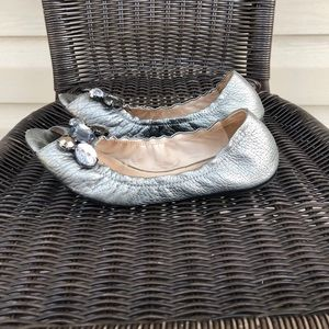 Kate Spade women's silver peep toe ballet shoes